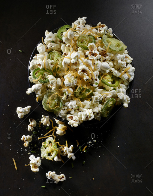 Jalapeno popper popcorn with shredded cheese