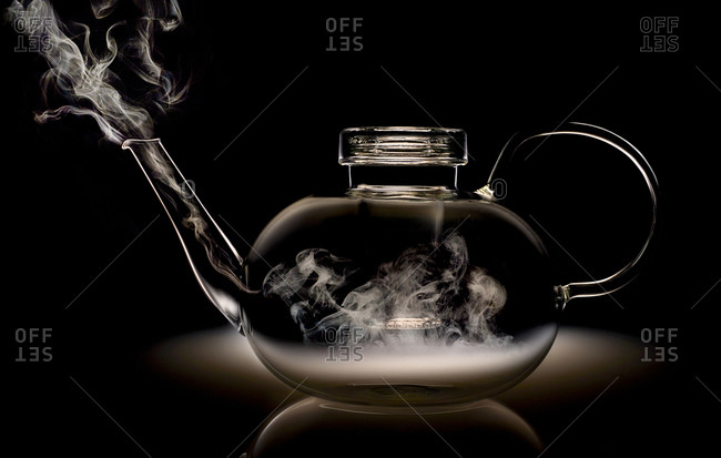 Steam in a clear glass tea pot