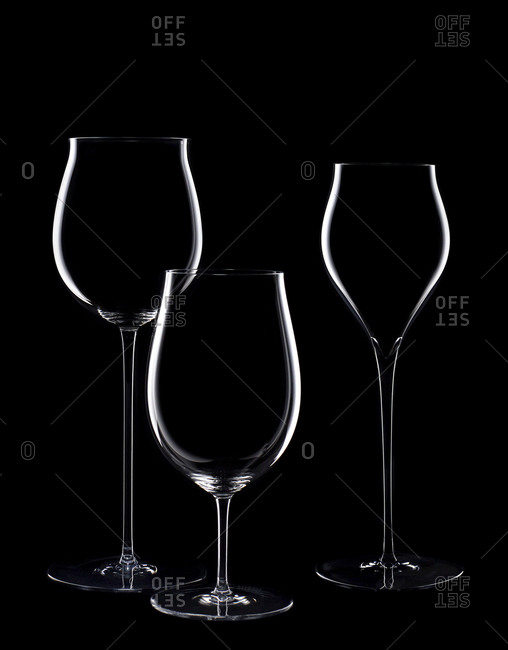 Silhouettes of different shaped wine glasses