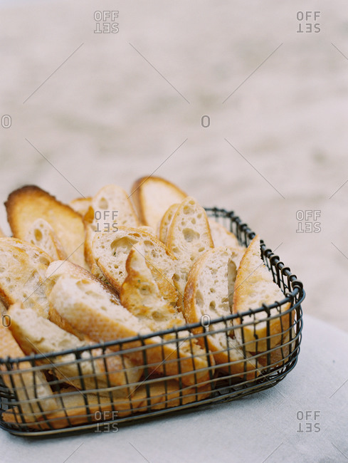Wire basket filled with bread slices