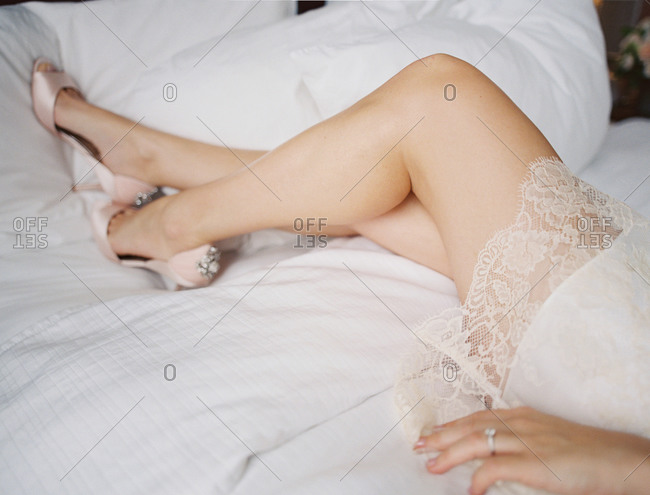 Woman in lingerie and high heels