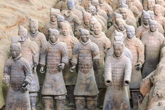 The Terracotta Army of Warriors and Horses is a collection of terracotta sculptures depicting the armies of Qin Shi Huang, the first Emperor of China, funerary art, Xi'an, China