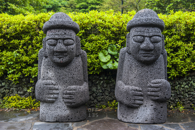 Basalt statues in Seogwipo in the Unesco World Heritage Site, island of Jejudo, South Korea