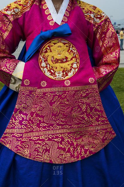 Traditional dress of a Korean woman, Gyeongbokgung Palace, Seoul, South Korea