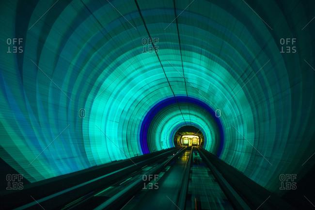 Singapore Colorful railroad tunnel under a river