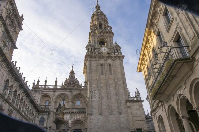 Clock tower of Cathedral Santiago de Compostela, Santiago, Spain