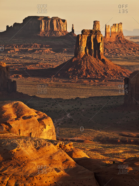 Monument Valley Navajo Tribal Park View of buttes from Hunt's Mesa at sunrise, Arizona