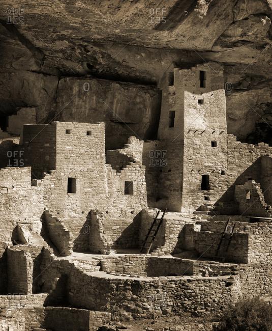 Mesa Verde National Park Cliff Palace ruin, tinted monochrome, Colorado