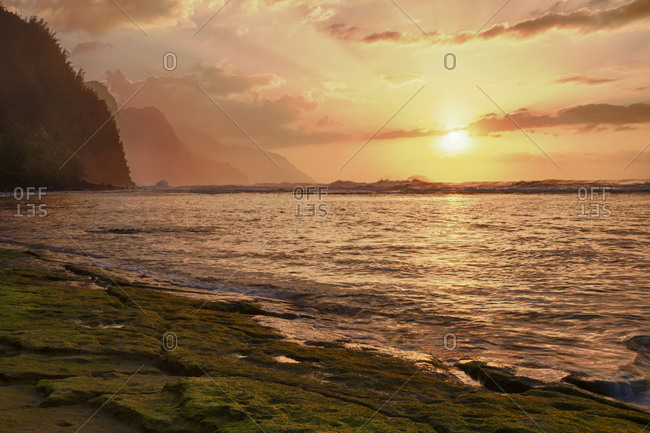 Coast, Sunset along the Coast, Hawaii
