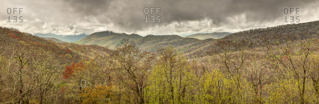 USA, North Carolina, Cherokee, Panoramic view from the Blue Ridge Parkway