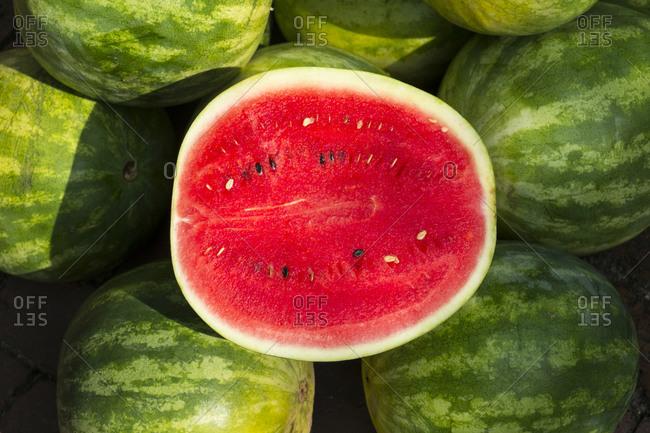 Watermelon for sale at a farmer's market, Charleston, South Carolina USA