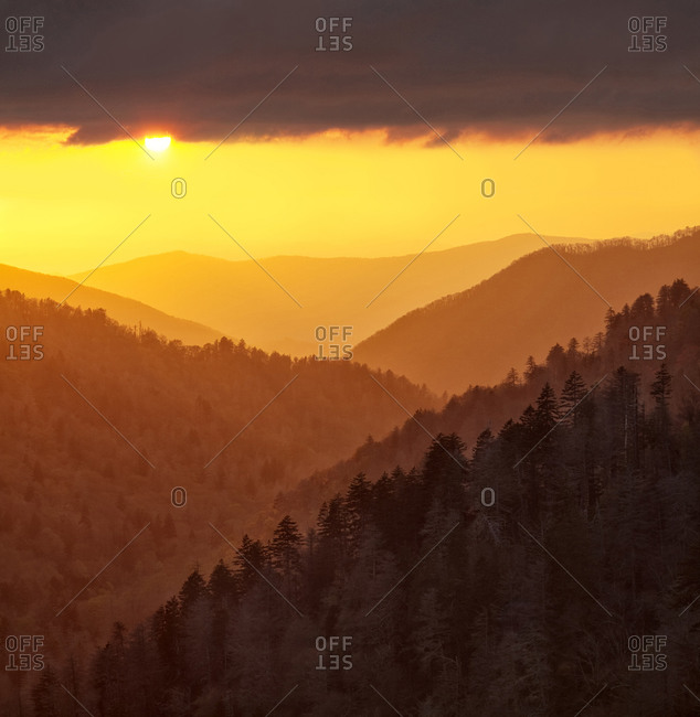 Great Smoky Mountains National Park Sunset light reflected by clouds fills valley with warm light