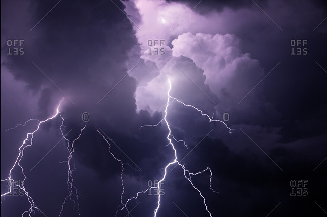 Composite of cloud-to-cloud lightning bolts