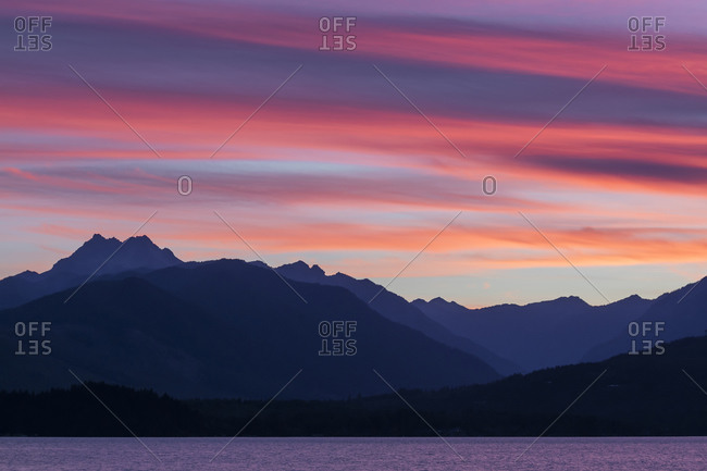 Sunset over the Olympic Mountains and Hood Canal