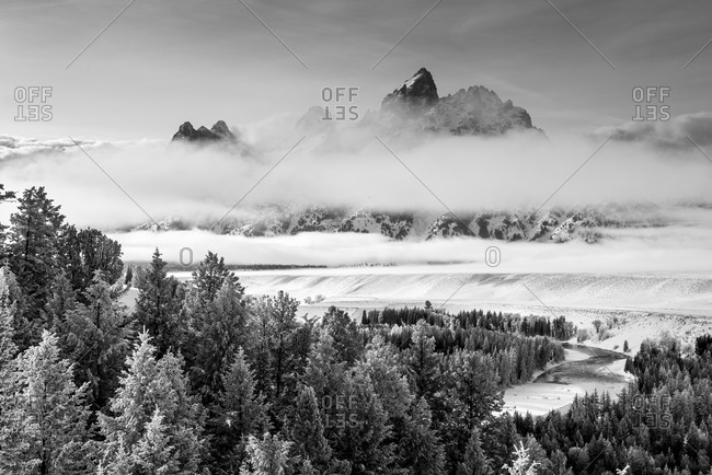 Grand Teton and layers of Fog, Snake River Overlook