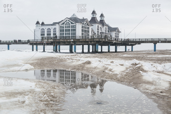 View to Sellin Pier in winter in Mecklenburg-Western, Germany
