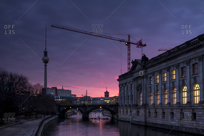 Tower and lighted Bode Museum at twilight in Germany