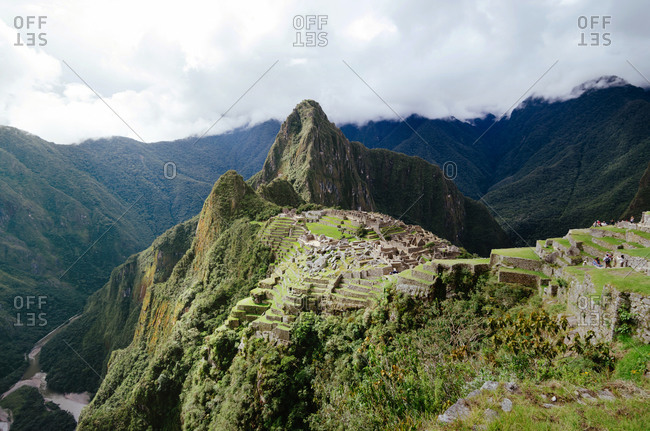 Machu Picchu citadel and Huayna Picchu mountain with Urubamba river