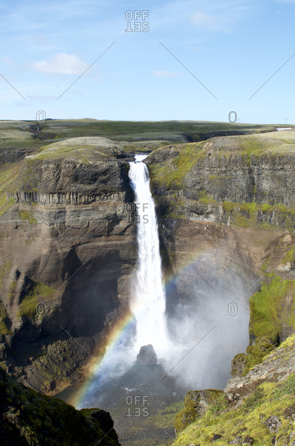 View of landscape with waterfall Haifoss in Iceland