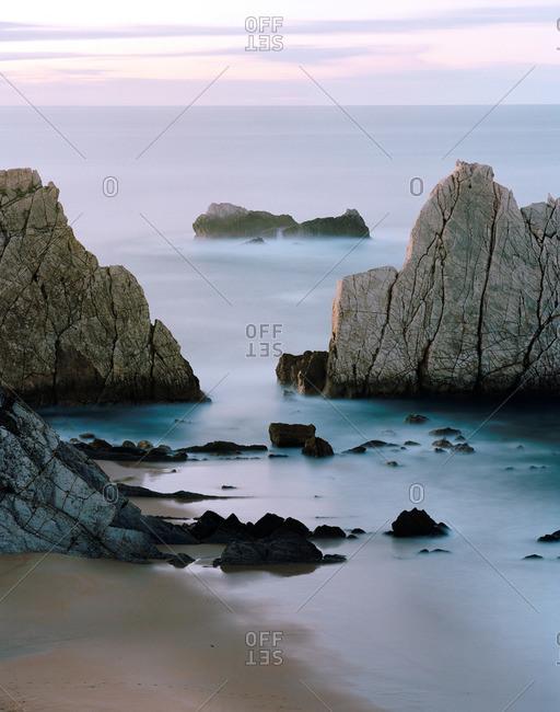Cliffs at Playa de Arnia, west of Santander, Cantabria, Spain