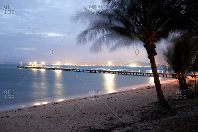 Jetty in Picnic Bay at night, southeast Magnetic island, Great Barrier Reef Marine Park, Queensland, Australia