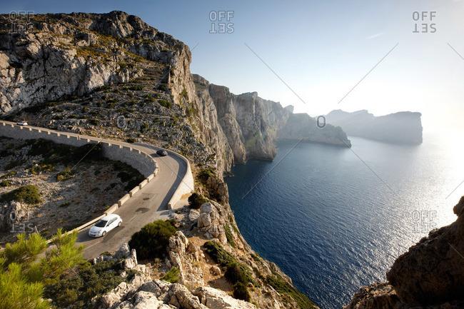 Coastal highway MA-2210 to Cap de Formentor, Cala Figuera bay on the right, Formentor Peninsula, north coast, Mallorca, Balearic Islands, Spain