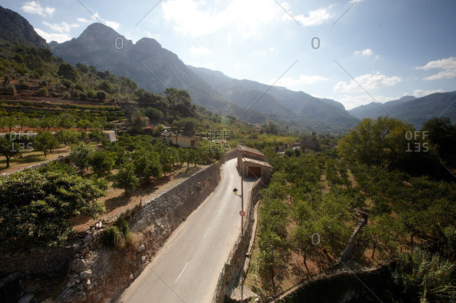 Road MA-2121 near Fornalutx, terraced fields, in the direction Soller valley, Tramuntana mountains, Mallorca, Balearic Islands, Spain