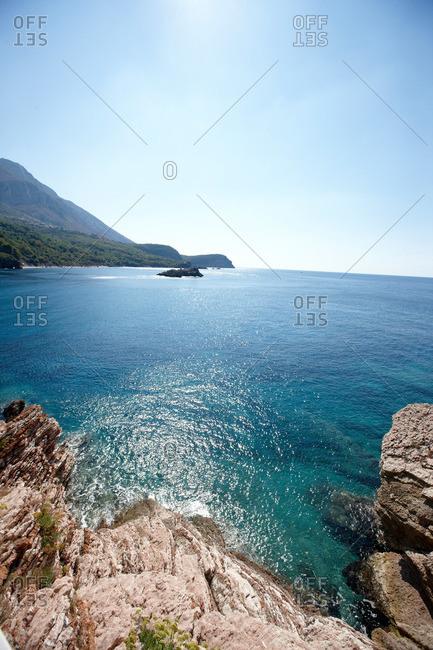 Rocky shore at Adriatic Sea, Aman Sveti Stefan, Sveti Stefan, Budva, Montenegro