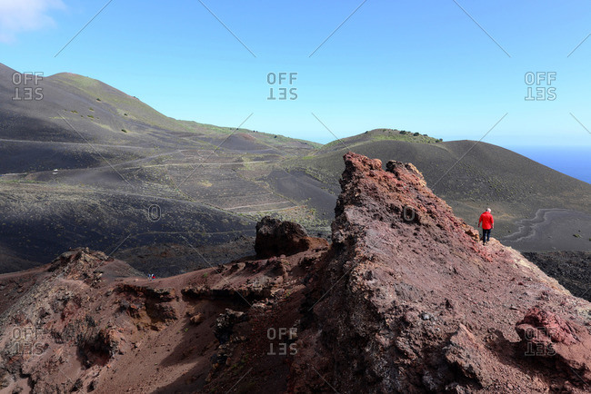 View from Teneguia volcano to San Antonio volcano, Fuencaliente, La Palma, Canary Islands, Spain