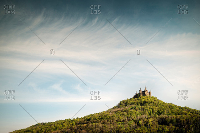 Baden-Wuerttemberg, Germany - May 4, 2014: View of Hohenzollern Castle, Hechingen Bissingen, Swabian Alp, Baden-Wuerttemberg, Germany
