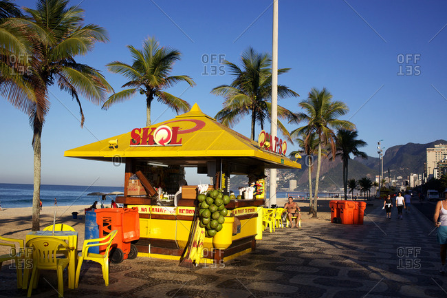 Rio de Janeiro, Brazil - July 12, 2010: Kiosk by Ipanema beach, Rio de Janeiro, Brazil