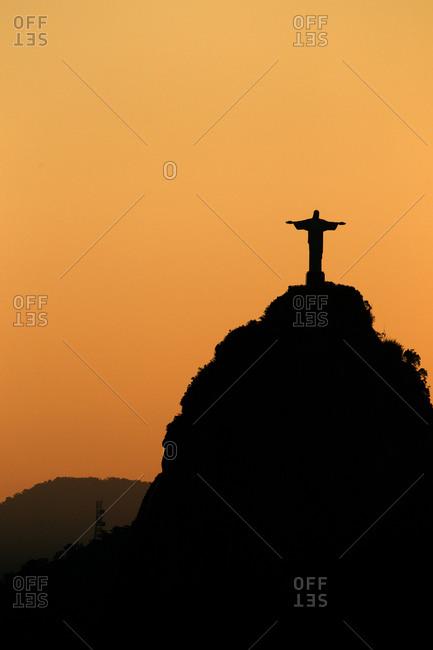 Rio de Janeiro, Brazil - May 27, 2010: Christ the Redeemer in sunset