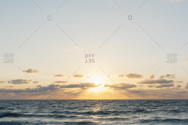 Ocean horizon and cloudscape at dawn off the coast of Florida