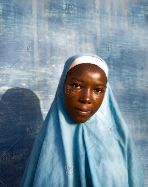Agadez, Niger - September 18, 2006: Portrait of a Muslim girl in Nigeria