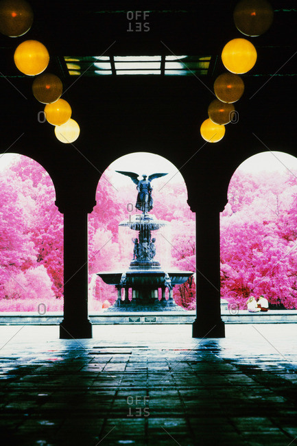 Angel fountain as seen from the Bethesda Terrace Arcade