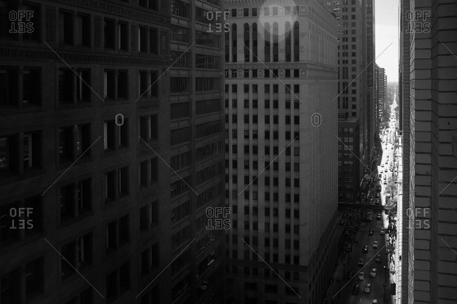 Black and white of buildings in Chicago, Illinois