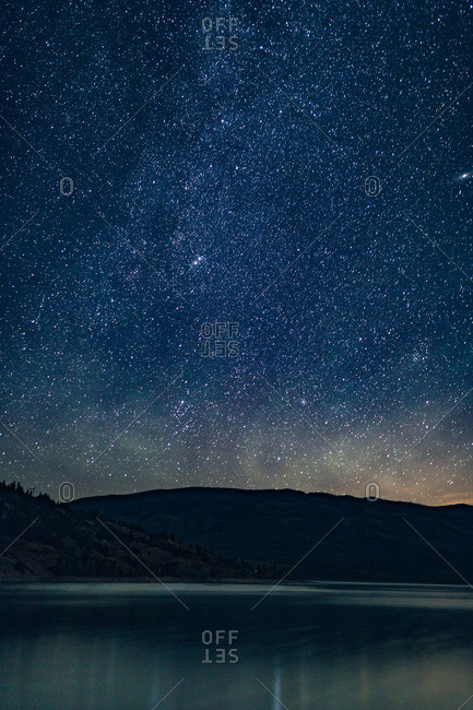 Starry sky over a mountainside lake in Silverthorne, Colorado