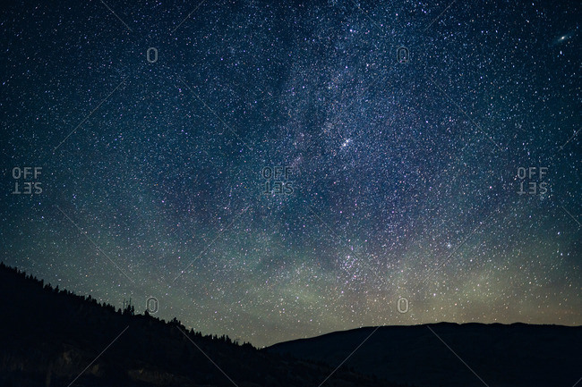 Starry sky over a the mountains in Silverthorne, Colorado