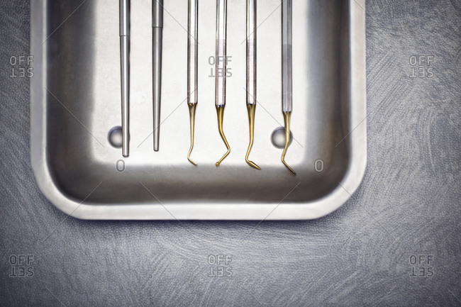 Birds eye view of a tray of dental instruments