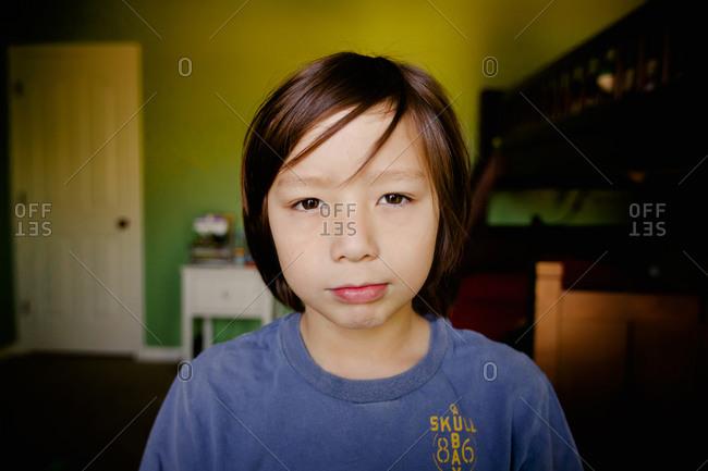 Portrait of a boy wearing a t-shirt smirking