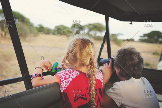 Girl and grandma touring rural Tanzania