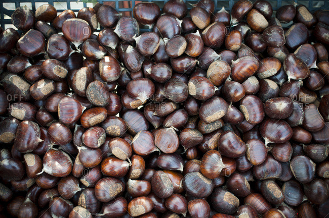 Overhead view of a crate of chestnuts