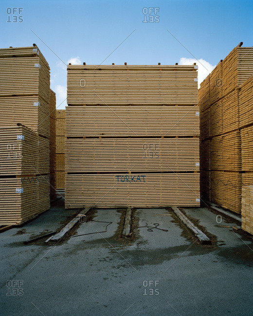 Timber in a timber yard, Sweden