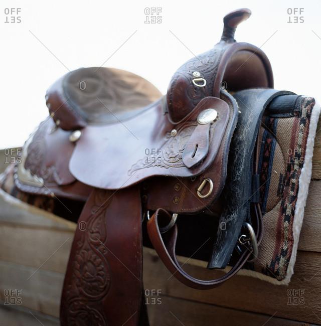 A horse saddle, close-up