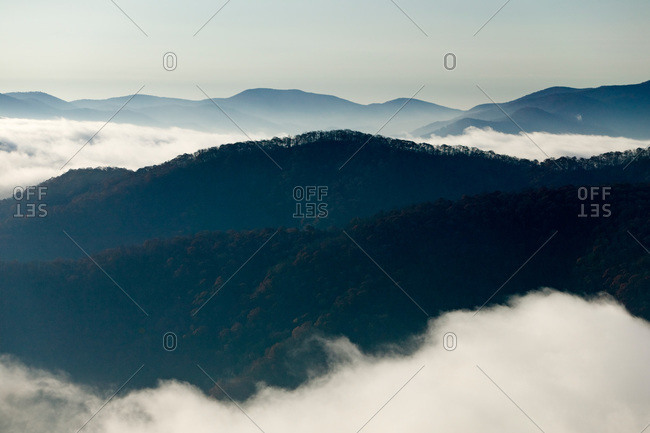 Mountain peaks and a foggy valley, Wayah Bald, North Carolina, USA