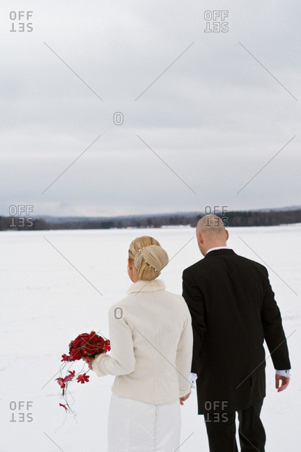 Bridal couple in a winter landscape