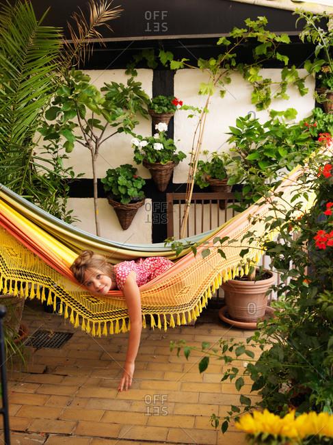 A girl in a hammock