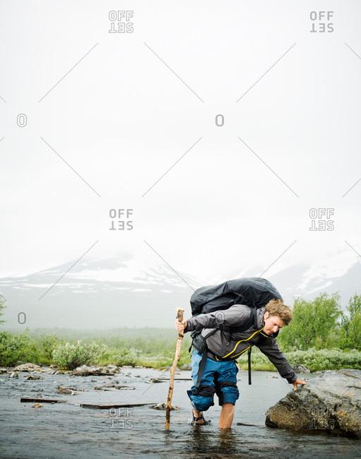 A man living outdoor life, Sarek, Lapland, Sweden