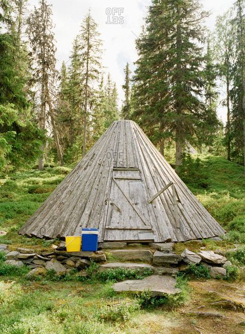 A cot in a forest, Sweden