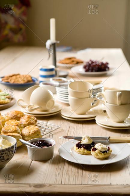 Afternoon tea table setting, England